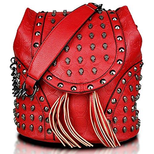 LuLu Chain Miss Skull Leather Backpack Studded Work Bag Shoulder School Bags Red Travel Leisure Faux Embossed dFxqfxwaY