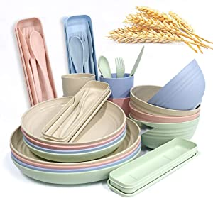 20 Pcs Large Kitchen Dinnerware Set, Wide and Shallow Pasta Plates, Salad Dishes, Soup Bowls, Sturdy and Durable Camping Dessert Dinner Dishes Spoon Set (style 2)