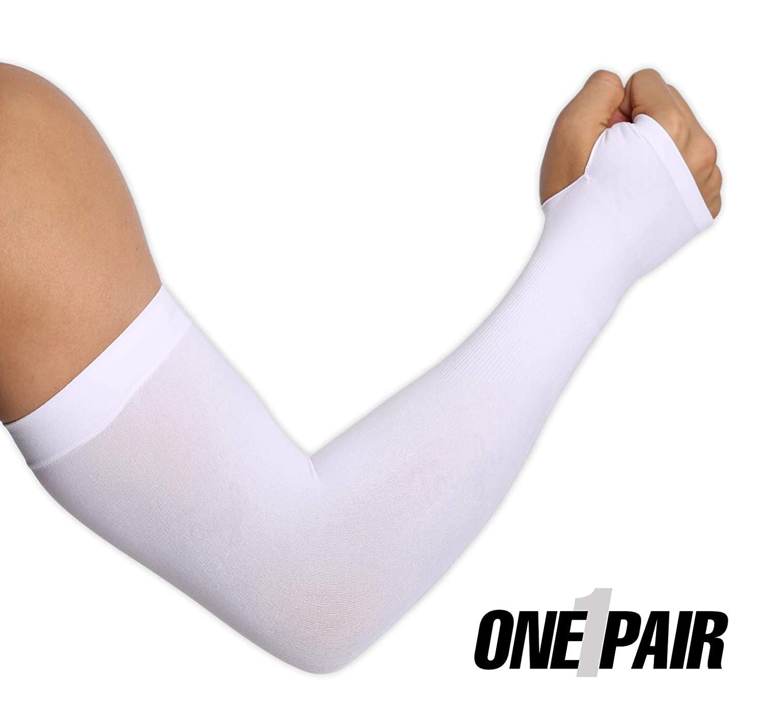 Tough Outdoors UV Protection Cooling Arm Sleeves, UPF 50 Sun Sleeves with Hand Cover for Men/Women, White TO022508