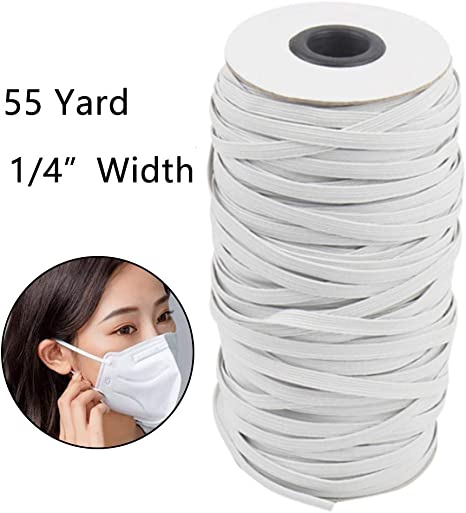 1//4 inch 55 Yards White Elastic Band Braided Stretch Strap Cord Roll for for DIY Clothes Making Sewing Knitting and Arts /& Crafts