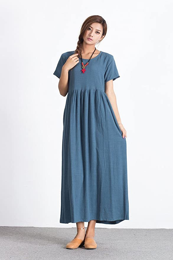 1920s Downton Abbey Dresses Sellse Womens Linen Loose Summer Casual Large Size Long Dress Cotton Clothing $41.70 AT vintagedancer.com