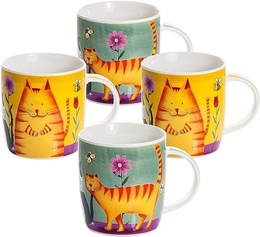 Juego Tazas de Café, Tazas Desayuno Originales de Té Café, Colores Porcelana con Diseño de Gatos, 4 Piezas - Regalos para Amantes de los Gatos Mujeres y Hombres: Amazon.es: Hogar