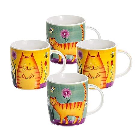 Conjunto de 4 Gato tazas desayuno originales de café té con decoración de lindo y divertido