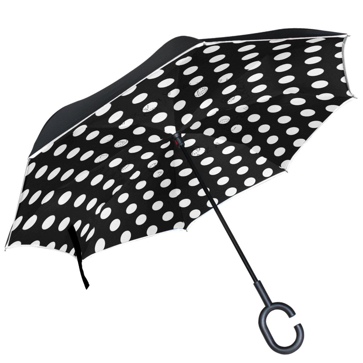 ALAZA (piel), diseño de lunares, color blanco y negro puede paraguas paraguas plegable de doble capa resistente al viento Reverse para coche con mango de ...