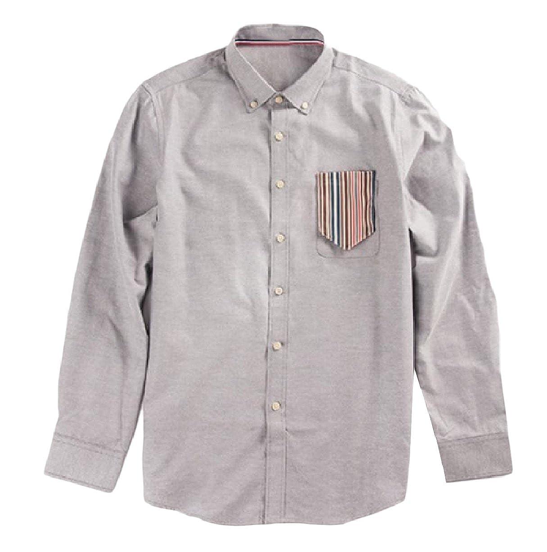 XiaoShop Mens Long Sleeve Relaxed Wild Summer Vogue Cotton Dress Shirts