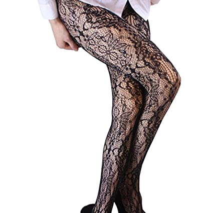 63573c939 kingfansion Stockings Hold Up Pure Thigh High Socks Fashion Women S Sexy  Fishing Net Stockings Print Pattern Black Anti-Hook Elastic Pantyhose Tight  ...
