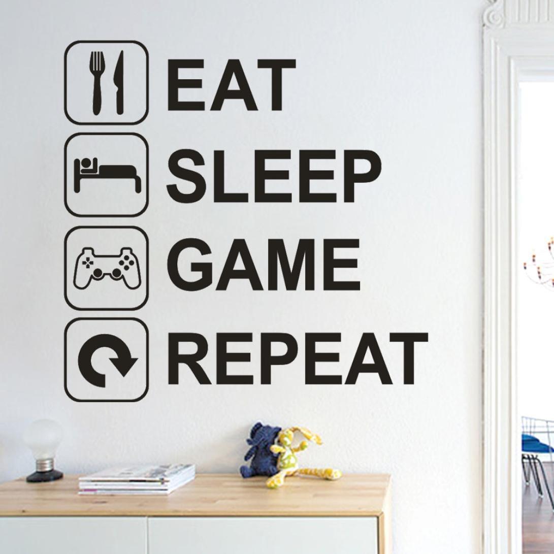 Masrin-foever Eat Sleep Game-Gamepad mit Wallstickers für Zuhause mit Spruch, Zitat mit modernen PS PS2PS3PS4Controller mit DualShock Wandsticker für Hardcore Video-Player, schwarz