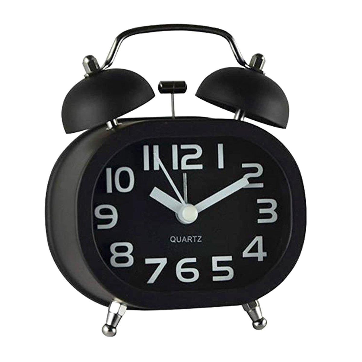 3pollici a doppia campana sveglia, cooja analogico al quarzo Sveglia Allarme sveglia a batteria campana sveglia con luce notturna, allarme forte senza ticchettio silenzioso B-1