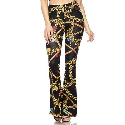 SOHO GLAM Chain Print Bell Bottom Pants in Black