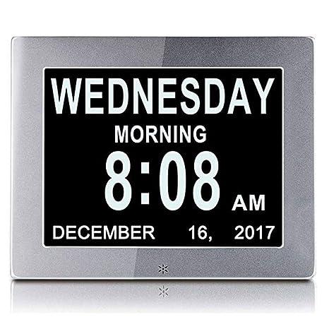 Reloj Calendario Digital Reloj de día digital de metal Extra grande Mes no abreviado Calendario Relojes