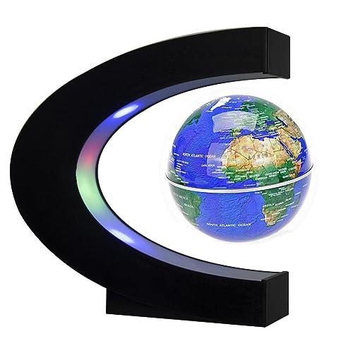 Newooe Floating Globe with LED Lights C Shape Magnetic Levitation Floating Globe World Map for Desk Decoration (Blue)