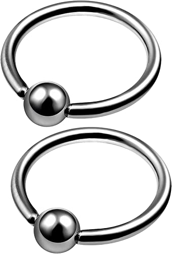 MATIGA 2Pcs Anodized Titanium 14g 8mm 10mm Captive Bead Piercing Jewelry Tragus Nose Septum Eyebrow Cartilage 4mm Ball More Choices