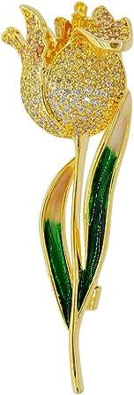 Brooch Flowr Pins for Women Men Tulips Flower Green Leaf Goden Plated Crystal Diamond Rhinestone Broochees for Wedding Bridal Jewelry Yellow