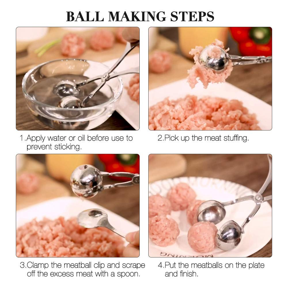 Cake Ice Cream Bath Bombs Ball Size 1.38 and 1.85 White KOMAKE 2 PCS Stainless Steel Ball Maker None-Stick Meat Baller Tongs Cake Pop Maker Cookie Dough Scoop Tongs for Meatball Meat Ballers