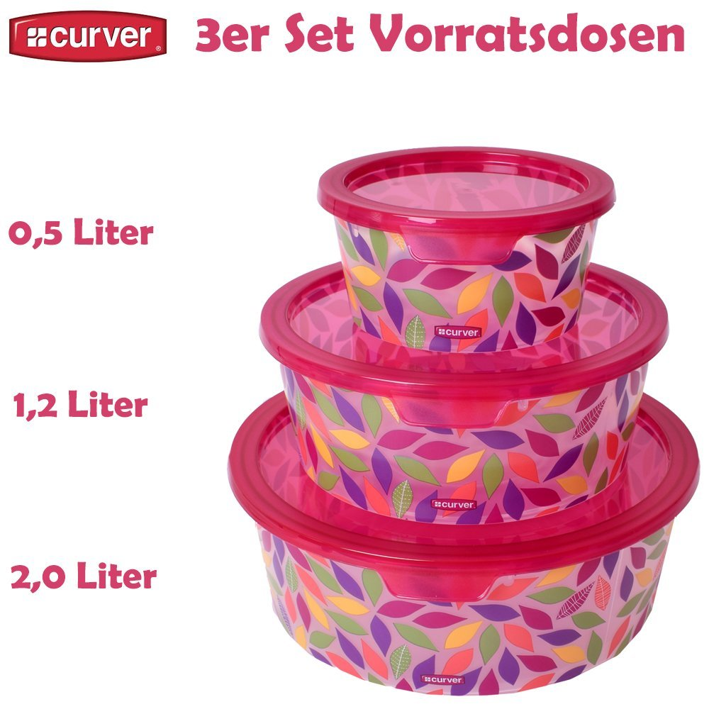 teprovo Curver Deko Chef Design 3er Set Vorratsdosen Lebensmittel ...