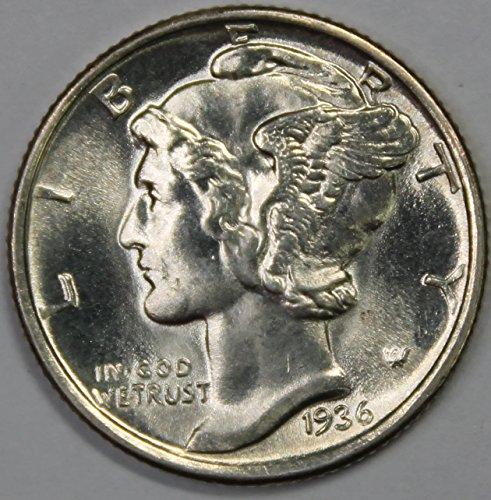 - 1936 P Silver Mercury Dime 10c Superb Gem BU Full Bands