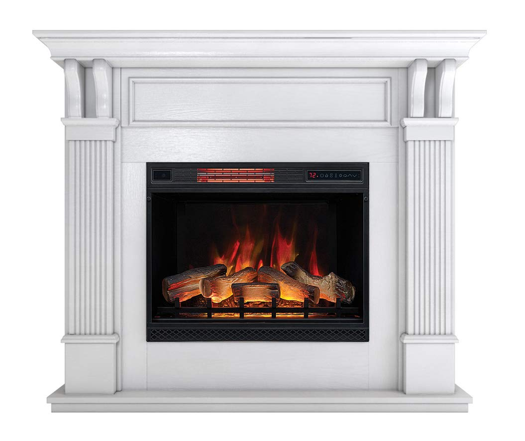 DragonBlaze Electric Fireplace Premium Mantel – Bella White Electric Fireplaces with 5200 BTU Infrared Heater – Large, White Electric Fireplace Heater – 3D Flame Effects – Safe and Maintenance Free
