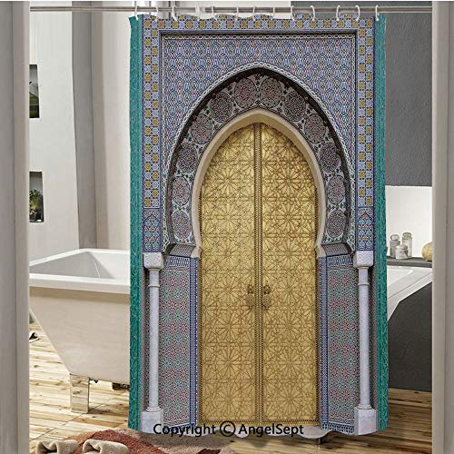 Antique Doors Morocco Gold Doorknob Ornamental Carved Intricate Artistic Decorative Polyester Waterproof Fabric Shower Curtain(72