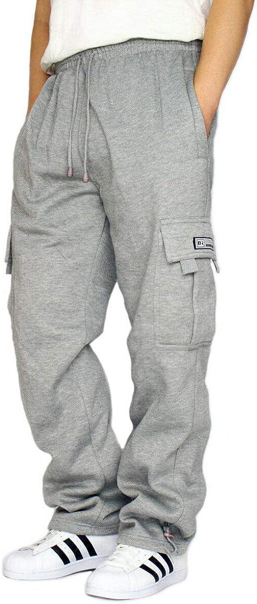 DREAM USA Mens Heavyweight Fleece Cargo Sweatpants