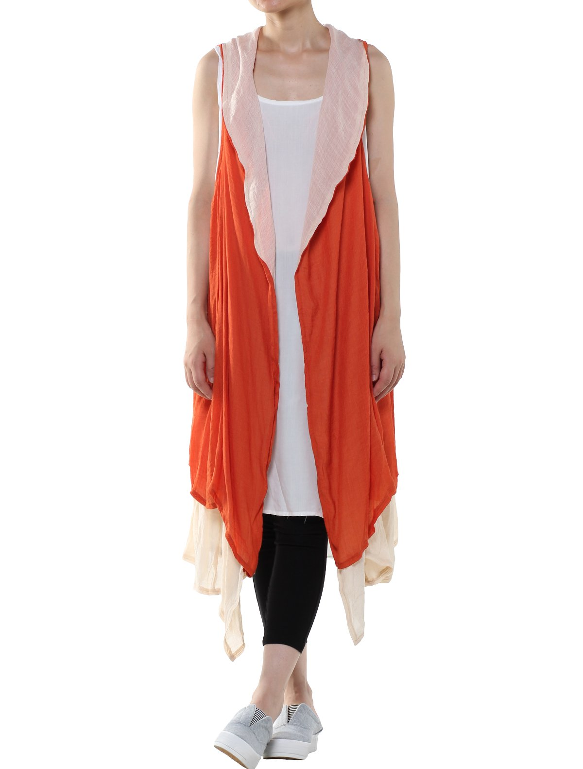 Minibee Women's Cotton Linen Cardigan Summer Thin Vest Two Side Pockets (Style 1 Orange)