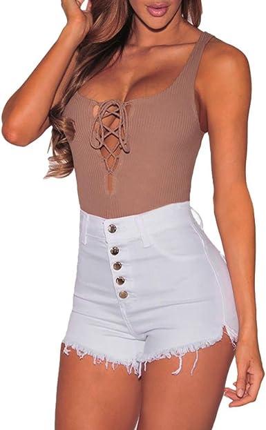 ♥-♥-♥-Pantalones Cortos para Mujer, RETUROM Moda Mujer Verano Pantalones Cortos Jeans Denim Shorts Vaqueros Slim Fit diámetro Agujero del Dril de algodón Pantalones: Amazon.es: Ropa y accesorios