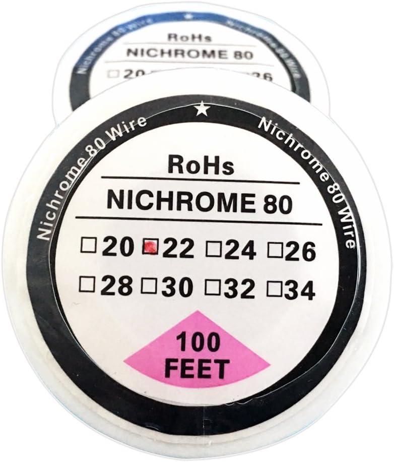 Filo di resistenza da 30,5 m su bobina con diametro da 20 a 34 AWG da 0,81 mm a 0,15 mm in nicromo 80