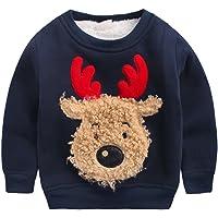 Happy cherry - Ropa Invierno Sudadera Chándal Suéter Niños de Navidad con Dibujo de Reno Grueso Cálido con Terciopelo…