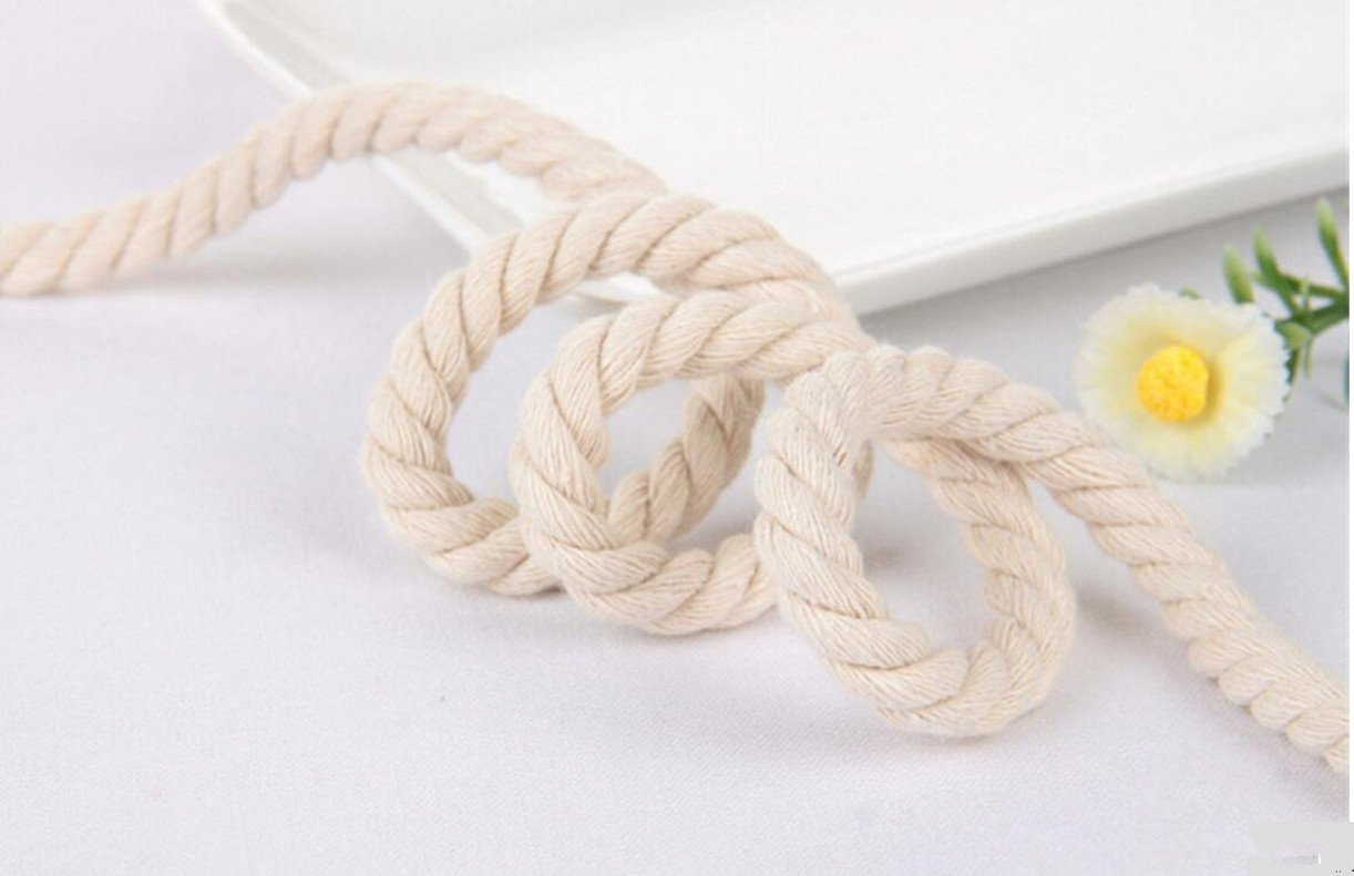 WellieSTR (100Metters/109yards) 3 Shares Twisted Cotton Cords 8mm BEIGE DIY Craft Decoration Rope Cotton Cord for Bag Drawstring Belt