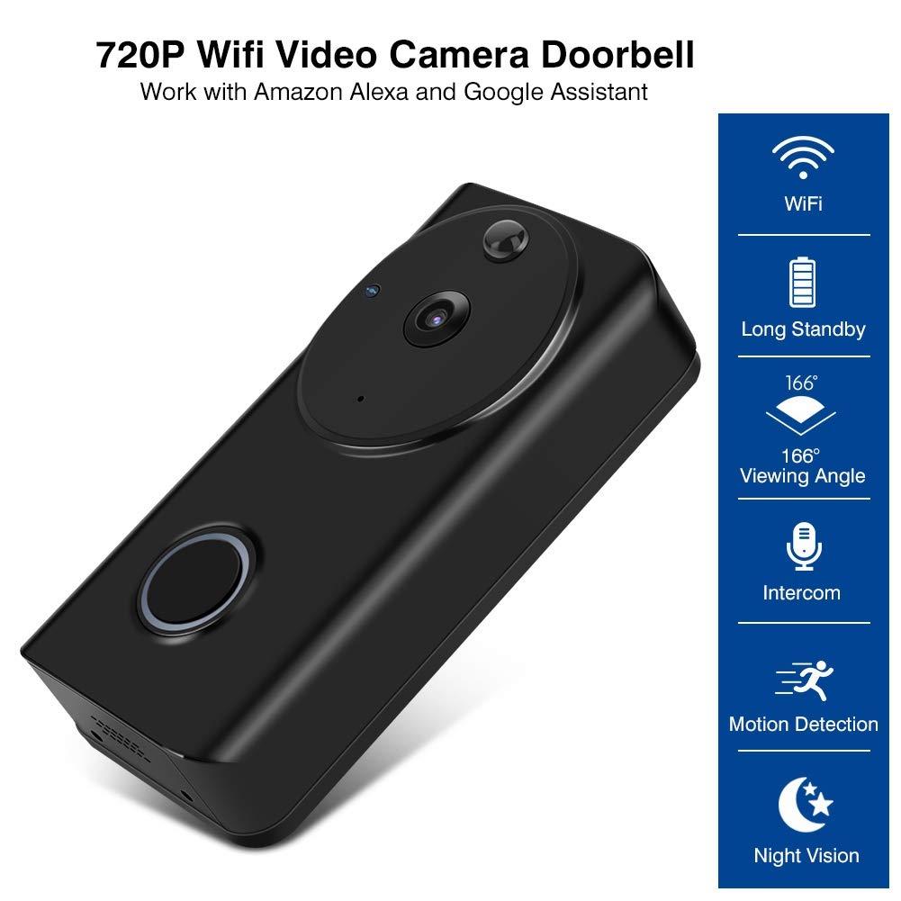 Sonnette Vid/éo sans Fil Sonnette WiFi Visuelle Interphone D/étection de Mouvement PIR Compatible avec  Alexa pour Maison