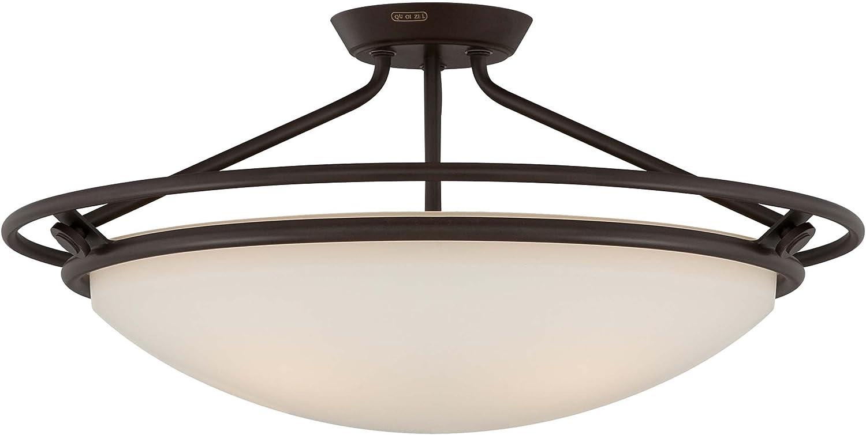 Quoizel QF1201SWT Bowl Semi-Flush Ceiling Lighting, 4-Light, 400 Watts, Western Bronze (12