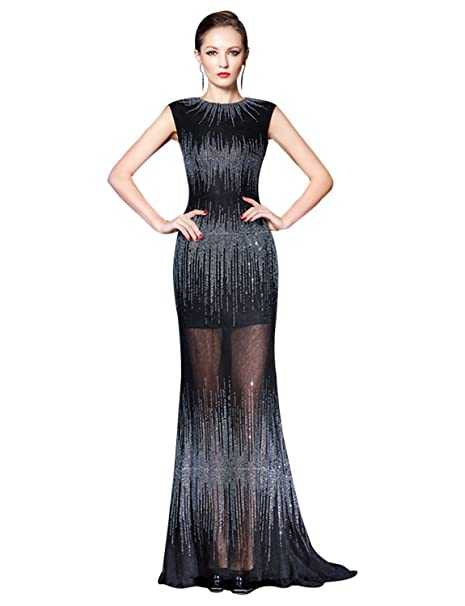 e11d1473306 Erosebridal Slim Fit Long Prom Gowns Gorgeous Beaded Cap Sleeve Evening  Dress For Women at Amazon Women s Clothing store