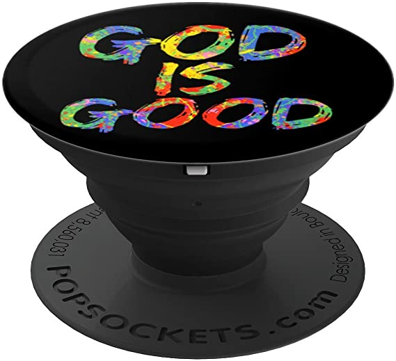 com god is good popsocket grip colorful rainbow paint design