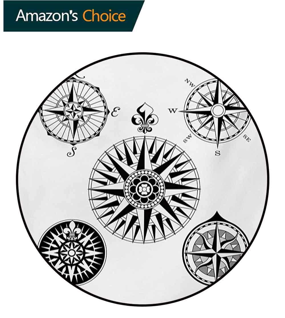 RUGSMAT Compass Modern Machine Washable Round Bath Mat,Highly Detailed Five Windroses Compass Angles Directions Navigation in The Sea Non-Slip Soft Floor Mat Home Decor,Diameter-51 Inch by RUGSMAT (Image #3)