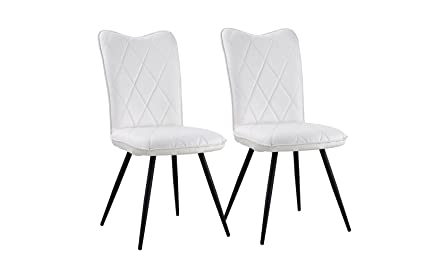 Set of 2 Dining Chairs Faux Leather Kitchen Chairs for Dining Room (White)