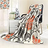 aolankaili Luminous Microfiber Throw Blanket Ornamental Colored Antique Floral Pattern Vector Illustration Glow in The Dark Constellation Blanket, Soft and Durable Polyester(60'x 50')