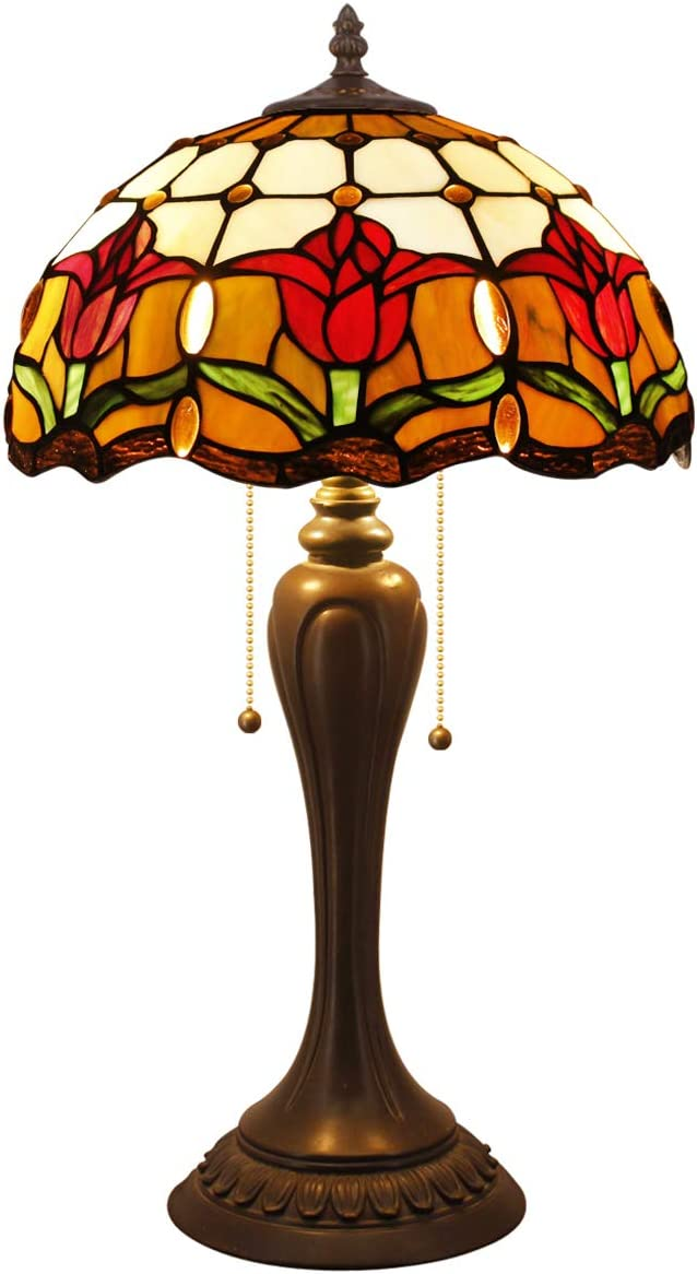 Tiffany Style Reading Table Beside Lamp Light 22 inch Tall Tulip Flower Stained Glass Shade 2 Bulb Desk Antique Resin Base for Girlfriend Living Room Bedroom S030 WERFACTORY