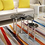 UEnjoy Modern Set of 3 Nest of Tables Glass Coffee Table Chromed Legs Living Room Furniture (Black)