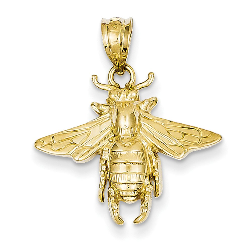 14k Yellow Gold Solid Open-Backed Bee Pendant C2445