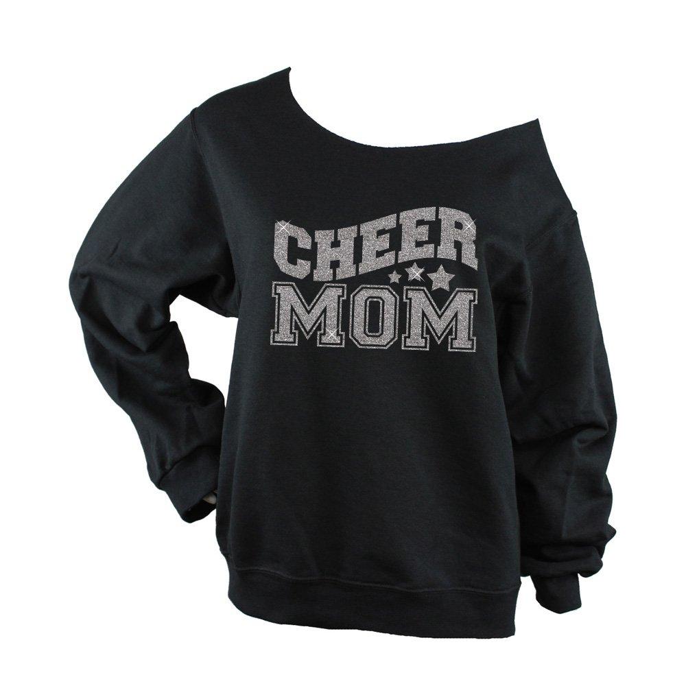562 Black BD947 Bella Designs Activewear Cheer Mom Sweatshirt Glitter Off Shoulder Silver Glitter