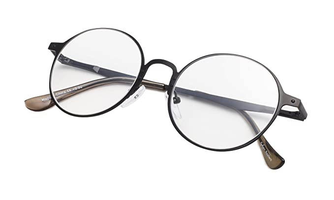 f696644aaf4 Round Metal Reading Glasses for Men and Women Clear Lens Black Frame +0.0