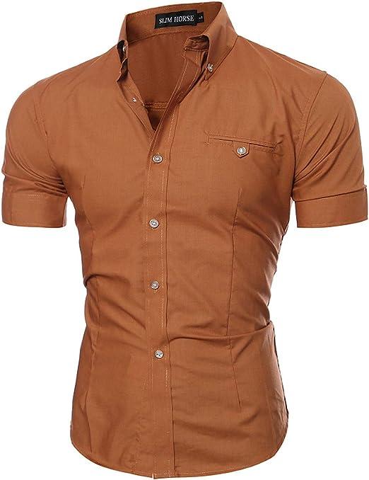Camisa Manga Corta Hombre Slim Fit Transpirable para Negocios Boda Ocio Fácil-Hierro: Amazon.es: Ropa y accesorios