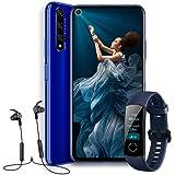 "HONOR 20  - Smartphone Android 9 (6,26"" FHD, 48MP + 16MP + 2MP + 2MP, frontal 32MP, 6 GB de RAM, 128 GB memoria, batería 3750 mAh), color Azul + Honor Band 4 + Honor Sport Bluetooth Earphones"