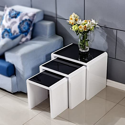 Tason White High Gloss Nest Of 3 Coffee Table With Black Tempered Glass  Top, Side Part 63