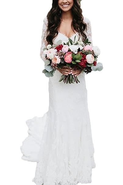 Ri Yun Lace Appliques Bohemian Wedding Dresses Bridal Gowns ...