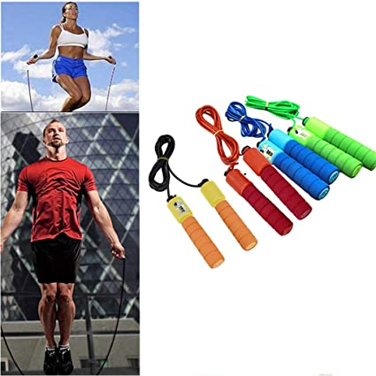 Skipping Rope Jumping Rope with Memory Foam Handles for Aerobic Exercise Like Speed Training Fukasse Skipping Rope Tangle-Free with Ball Bearing Rapid Speed Jump Ropes Cable Fitness Blue
