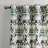 """25 Sizes Available (Set of 1 panel) (100""""W x 84""""L) Double Pleated Top Contemporary Print Abstract Gypsy Bohemian Style Cold Colors Floral Blackout Lining Window Treatment Draperies & Curtains Panels"""