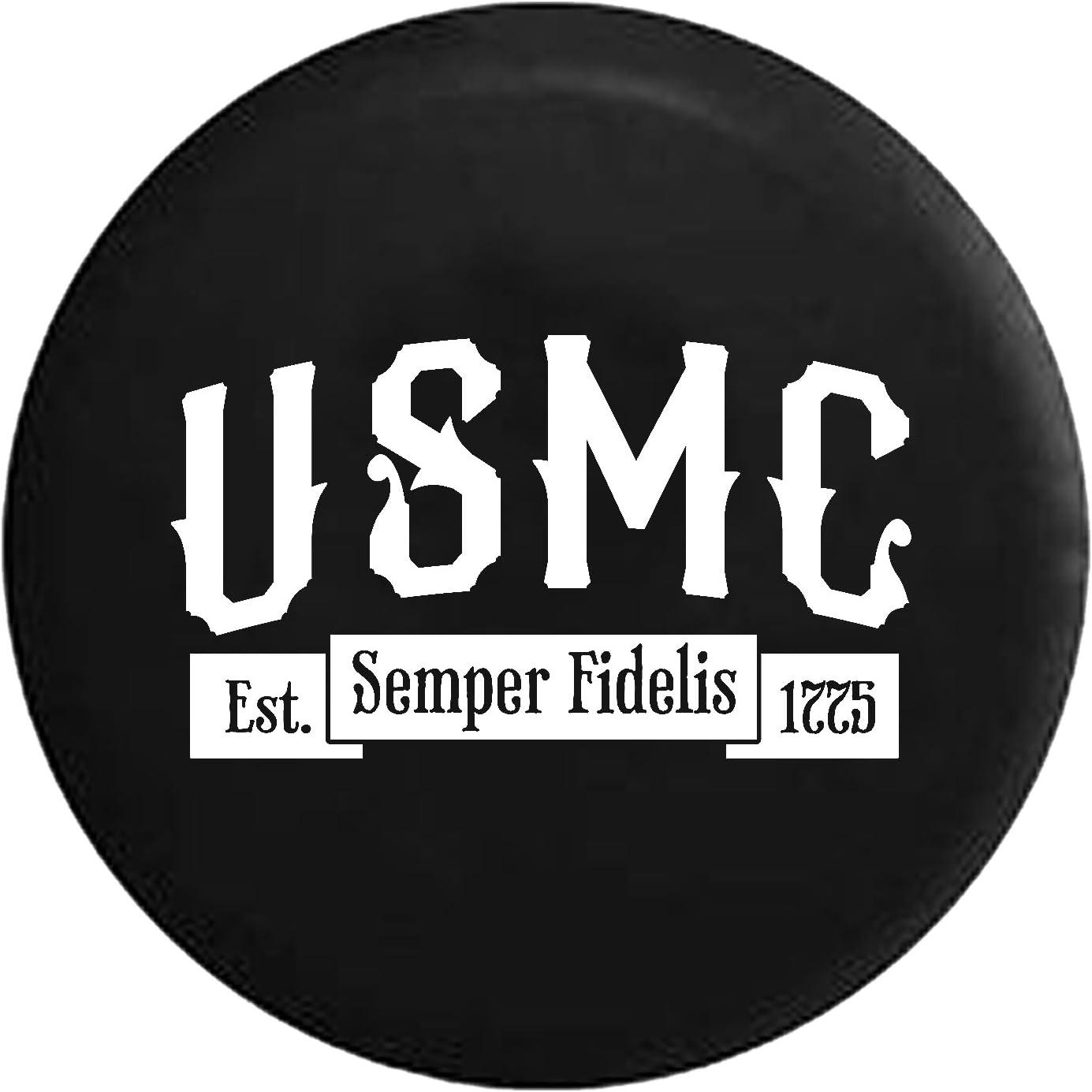 USMC Marine Corp Semper Fi American Military Spare Tire Cover fits SUV Camper RV Accessories Gray Ink 31 in