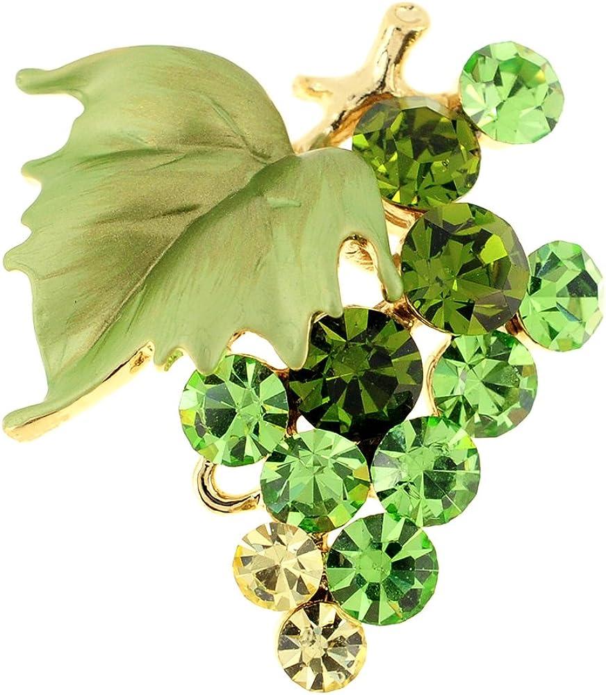 Fantasyard Multi Green Bunch of Grapes Swarovski Crystal Pin Brooch