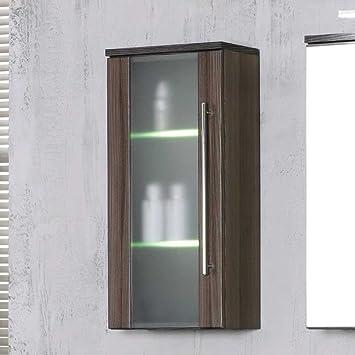 Pharao24 Badezimmer Hängeschrank mit Glastür Beleuchtung ...