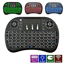 Mini Wireless Keyboard with Touchpad Mouse Combo 2.4GHz 3 Color Backlit Multimedia Remote Control for Android TV BOX Smart TV PC Raspberry Pi 3 IPTV Built-In USB Rechargeable Li-ion Battery- Black